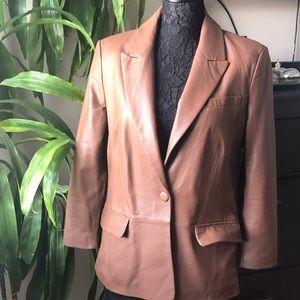 Woman's leather blazer jacket